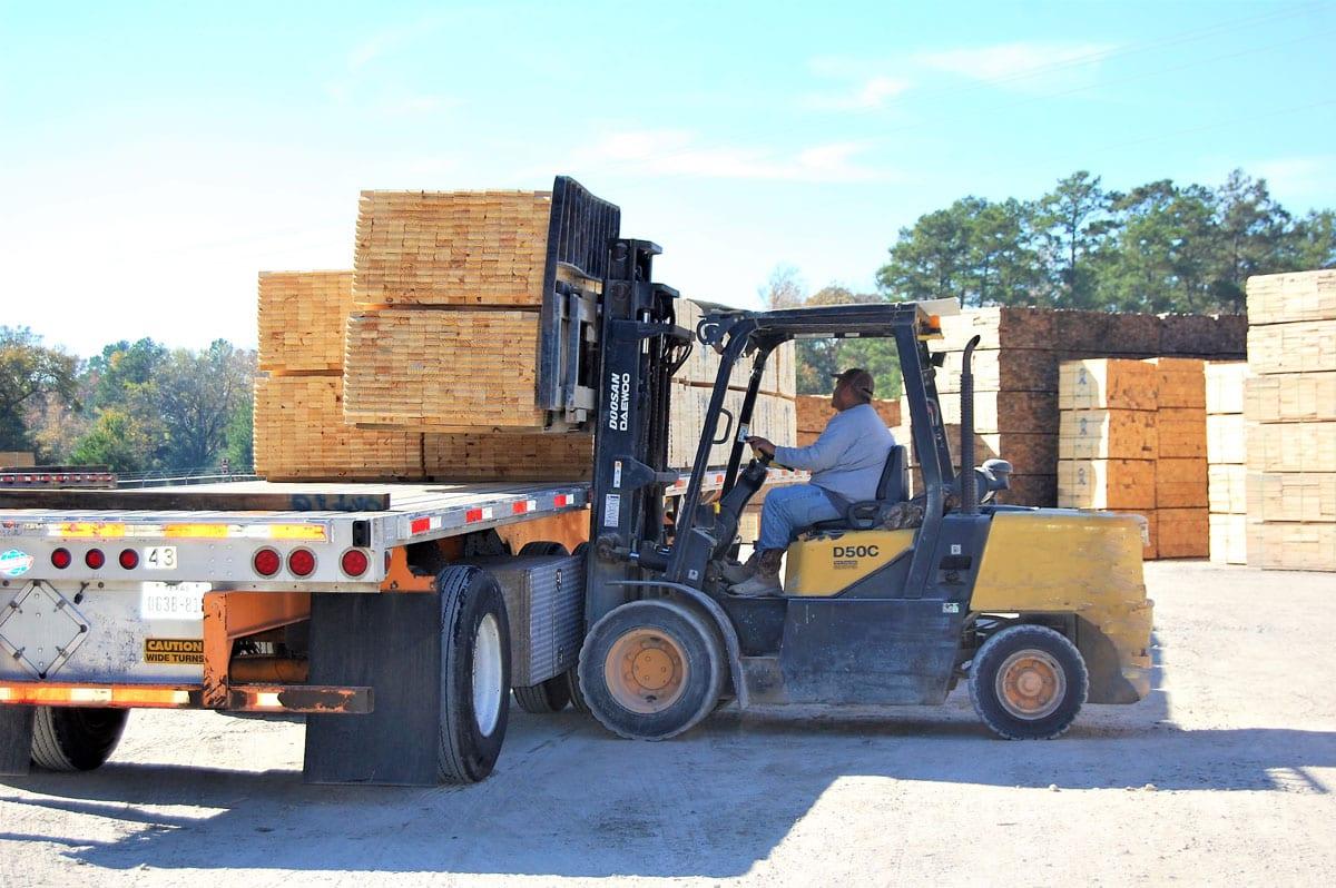 Moving Lumber Forklift